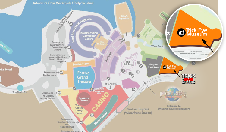 Музей оптических иллюзий Сингапура на карте - как добраться