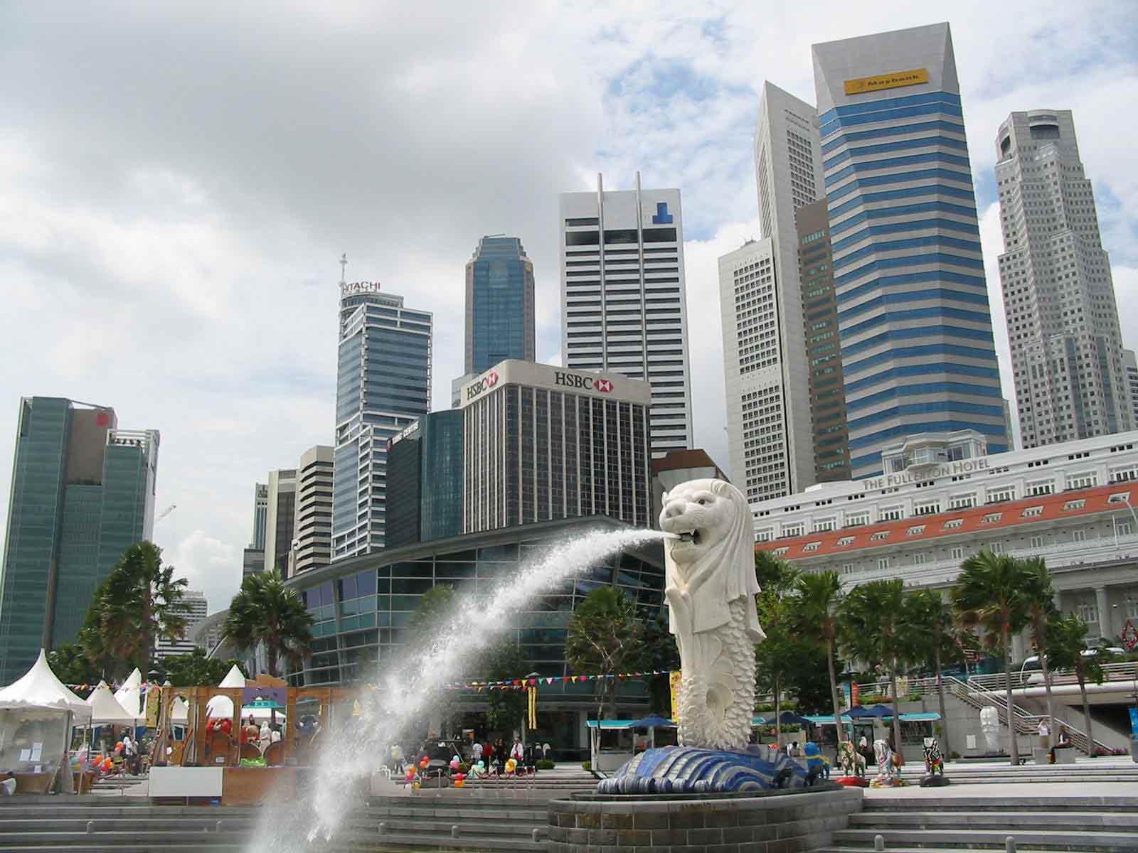 Фото фонтана Мерлион в Сингапуре