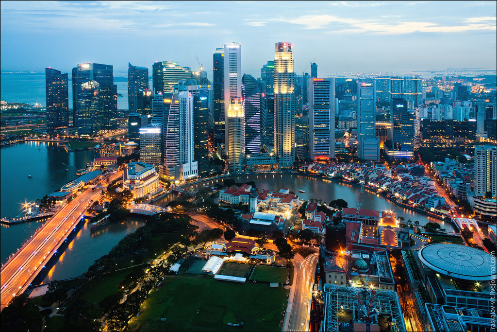 Фото ночного Сингапура